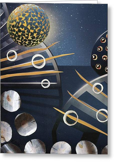 Greeting Card featuring the painting The Big Bang by Michal Mitak Mahgerefteh