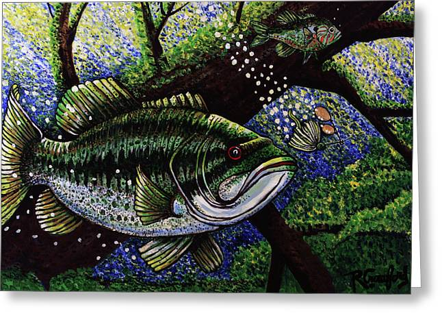 The Big Bass Greeting Card by Bob Crawford