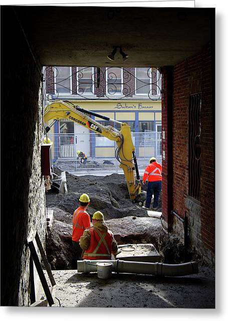 The Big Dig Greeting Card by Paul Wash