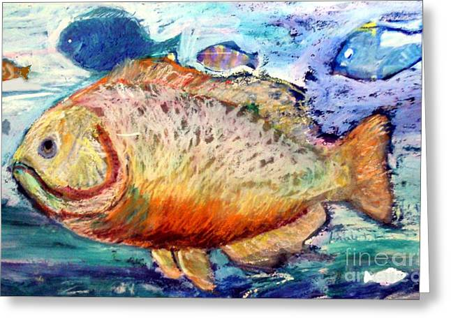 Greeting Card featuring the painting The Big Fish by Diane Ursin