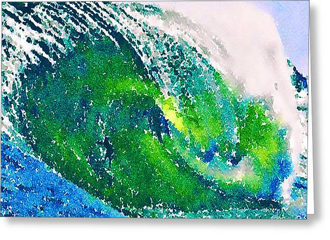 Greeting Card featuring the painting The Big Green by Angela Treat Lyon