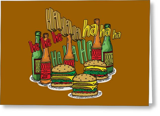 The Big Lebowski  Some Burgers Some Beers And A Few Laughs  In And Out Burger Jeff Lebowski Greeting Card by Paul Telling