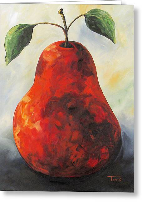 The Big Red Pear Greeting Card by Torrie Smiley