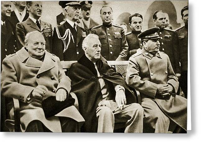 The Big Three At Yalta Greeting Card by English School