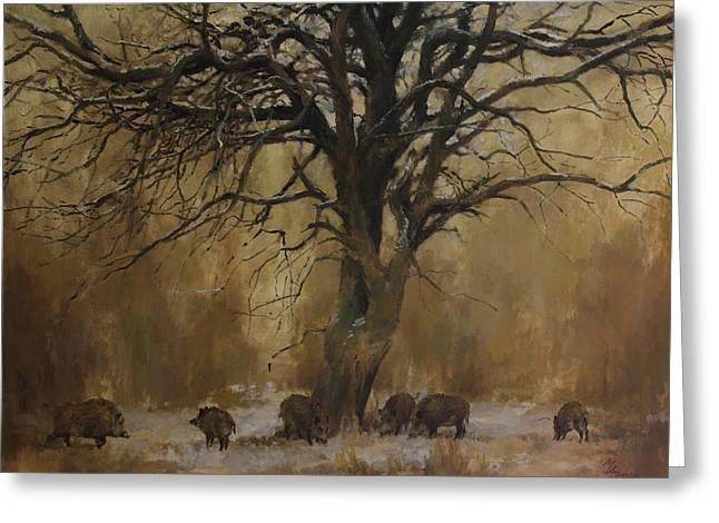The Big Tree With Wild Boars Greeting Card
