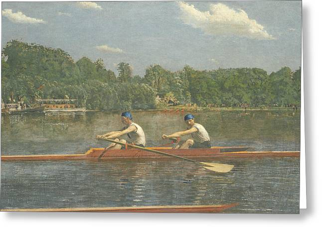 The Biglin Brothers Racing Greeting Card by Thomas Eakins