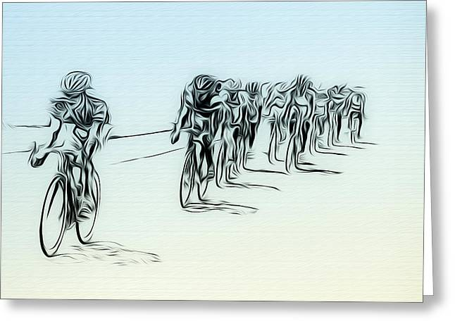 The Bike Race Greeting Card by Bill Cannon
