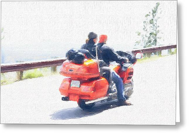 The Bikers Greeting Card by Art Spectrum
