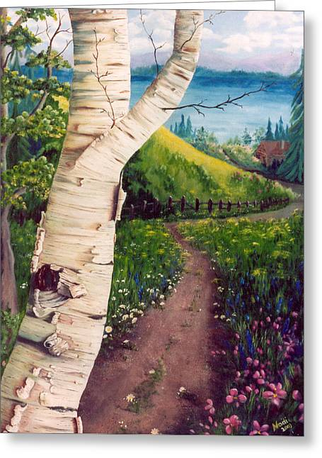 Greeting Card featuring the painting The Birch by Renate Nadi Wesley
