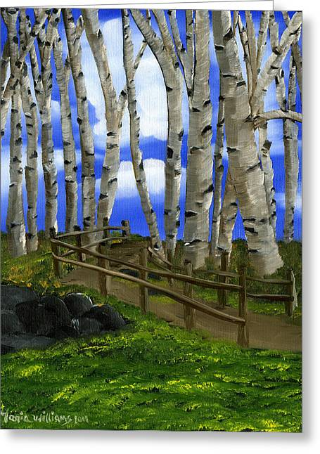 The Birch Tree Road Greeting Card by Maria Williams
