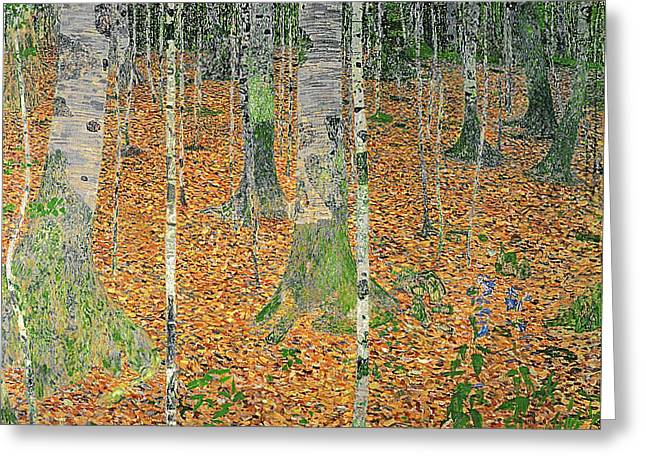 The Birch Wood Greeting Card by Gustav Klimt