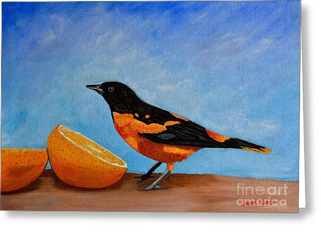 Greeting Card featuring the painting The Bird And Orange by Laura Forde