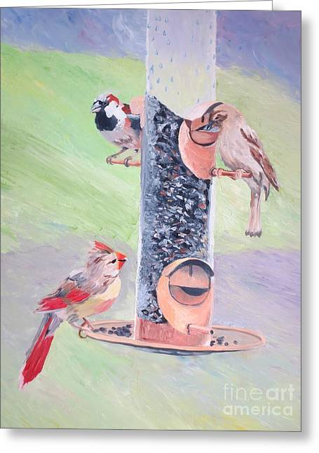 The Bird Feeder Greeting Card by Stella Sherman