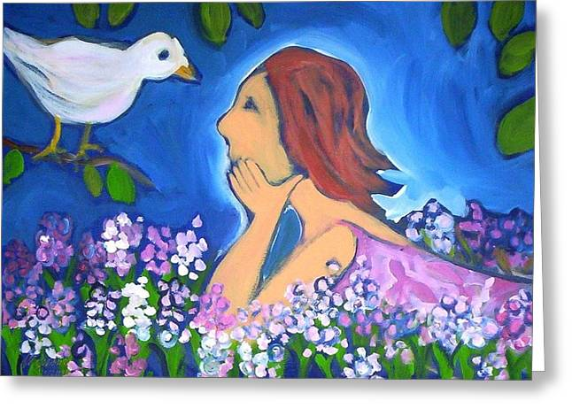 Greeting Card featuring the painting The Bird by Winsome Gunning