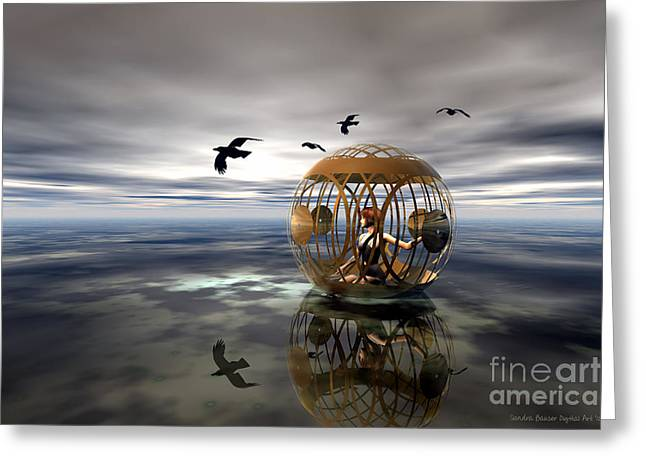 The Birdcage Greeting Card by Sandra Bauser Digital Art