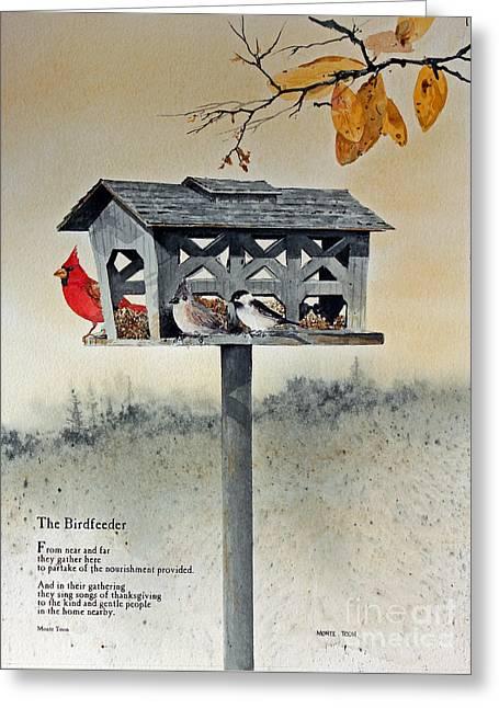 The Birdfeeder Greeting Card by Monte Toon