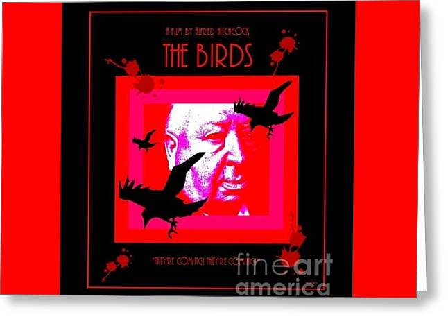Greeting Card featuring the digital art The Birds Alfred Hitchcock by Peter Gumaer Ogden