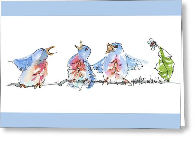 The Birds And The Bee Bird Art Watercolor Painting By Kmcelwaine Greeting Card