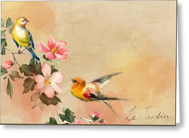 Greeting Card featuring the pyrography The Birds by Artistic Panda