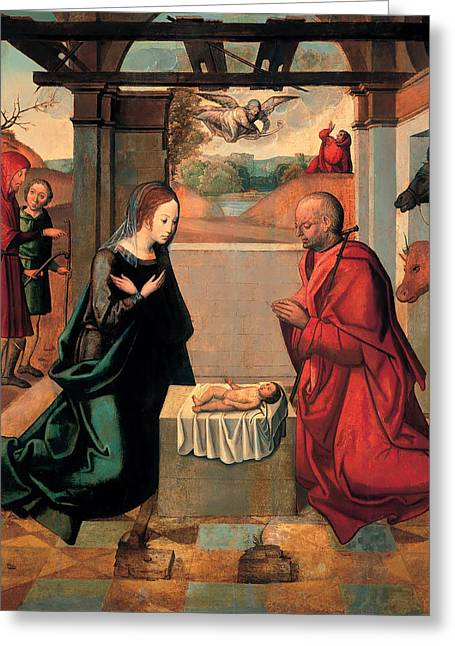 The Birth Of Christ And The Annunciation To The Shepherds Greeting Card by Mountain Dreams