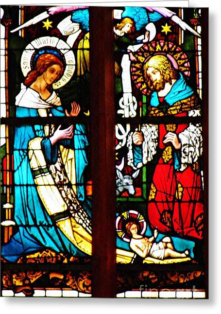 The Birth Of Christ In Stained Glass Greeting Card by Sarah Loft