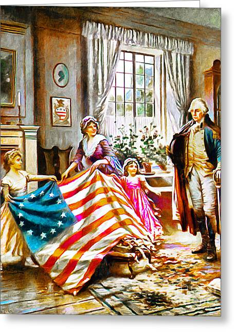 The Birth Of Old Glory Redux 20150710v2 Greeting Card by Wingsdomain Art and Photography