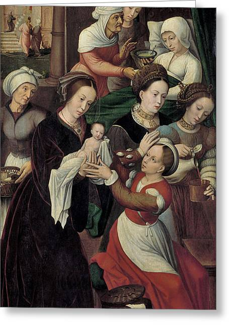 The Birth Of The Virgin Greeting Card by Ambrosius Benson