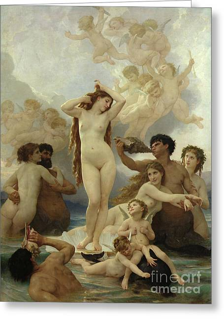Venus Greeting Cards - The Birth of Venus Greeting Card by William-Adolphe Bouguereau