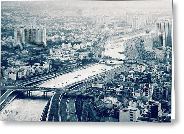 The Bisection Of Saigon Greeting Card by Joseph Westrupp