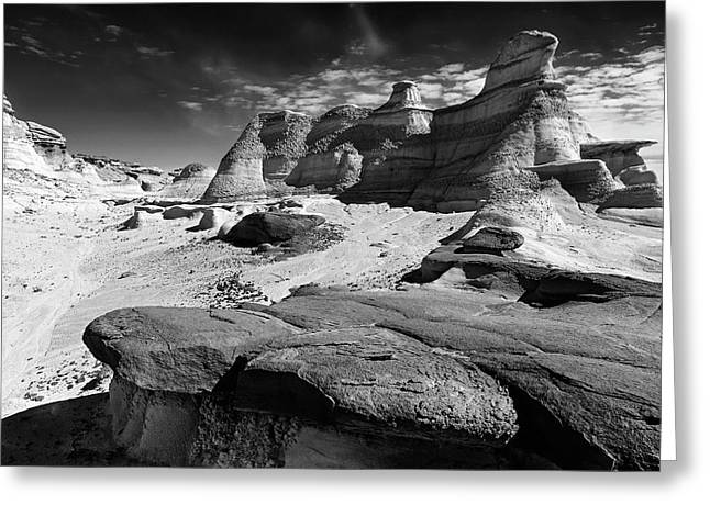 The Bisti Badlands - New Mexico - Black And White Greeting Card by Jason Politte