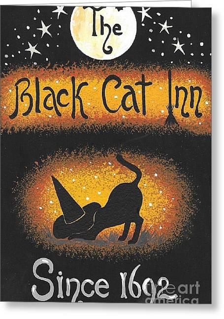 The Black Cat Inn Greeting Card by Margaryta Yermolayeva