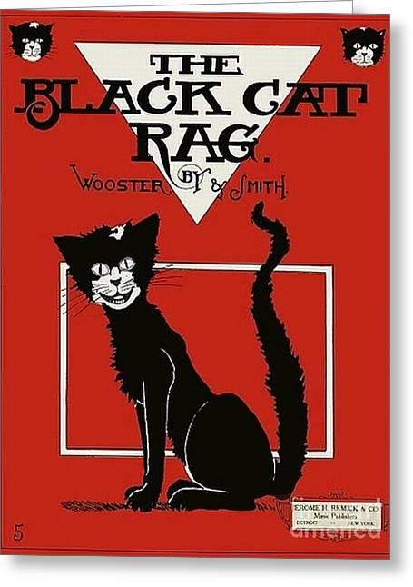 The Black Cat Rag 1905 Sheet Music Art Greeting Card