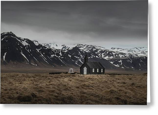The Black Church, Iceland In Moody Weather Greeting Card