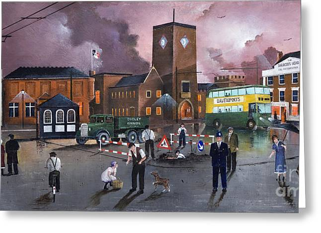 Dudley Trolley Bus Terminus 1950's Greeting Card