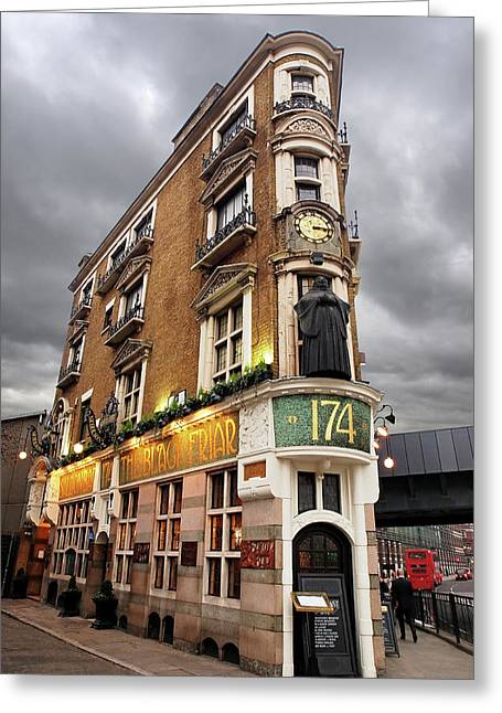 The Black Friar London Pub Bar Greeting Card by Gill Billington