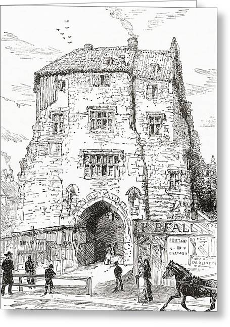 The Black Gate, The Fortified Gatehouse Greeting Card by Vintage Design Pics