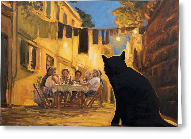 The Black Hunger Waiting For Left-overs Greeting Card by Marco Busoni