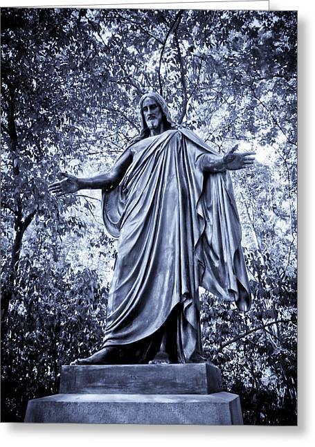 The Black Jesus In Blue Greeting Card