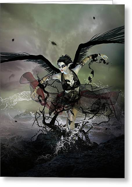 The Black Swan Greeting Card by Mary Hood