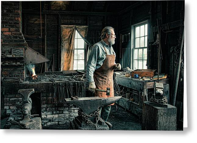 Greeting Card featuring the photograph The Blacksmith - Smith by Gary Heller