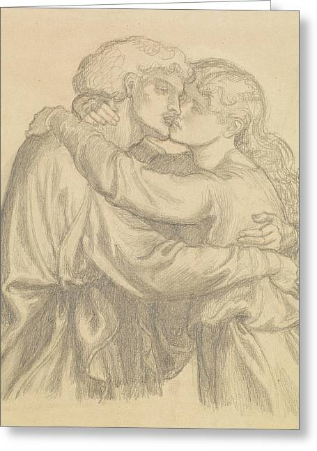 The Blessed Damozel - Study Of Two Lovers Embracing Greeting Card