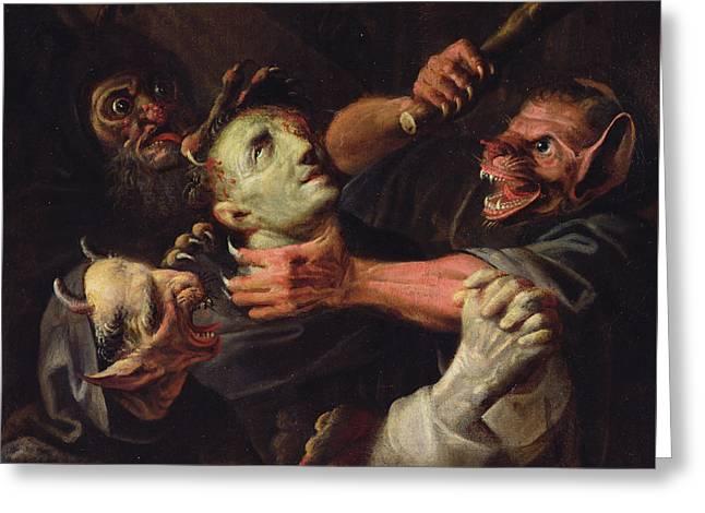 The Blessed Guillaume De Toulouse Tormented By Demons Greeting Card