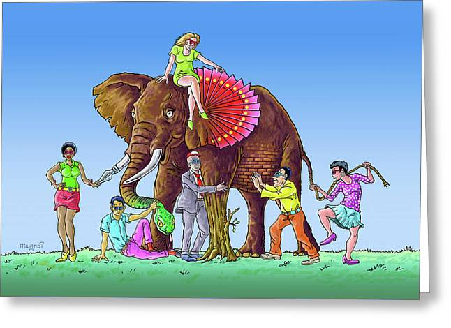 The Blind And The Elephant Greeting Card by Anthony Mwangi
