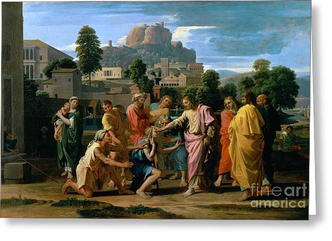 The Blind Of Jericho Greeting Card by Nicolas Poussin