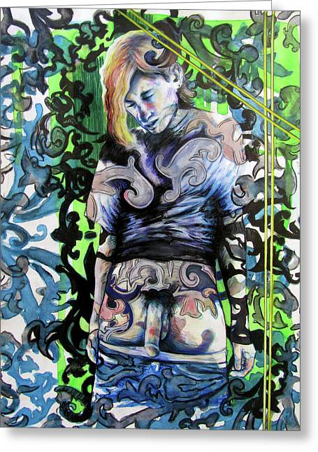 Greeting Card featuring the painting The Blond Bomber  by Rene Capone