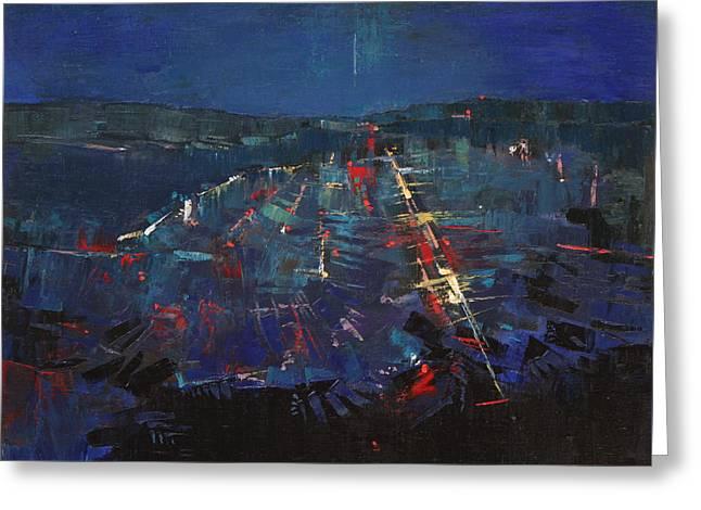 Greeting Card featuring the painting The Blue by Anastasija Kraineva