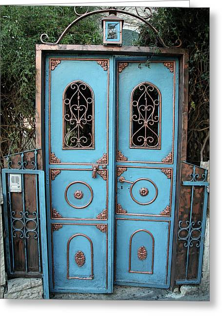 Greeting Card featuring the photograph The Blue And Gold Door Of Jerusalem by Yoel Koskas