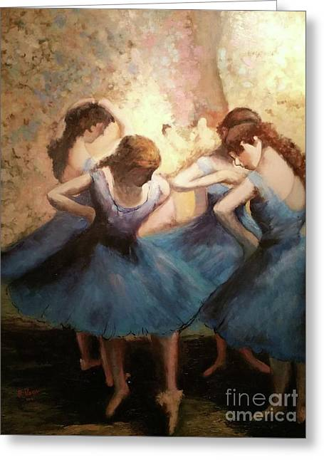The Blue Ballerinas - A Edgar Degas Artwork Adaptation Greeting Card