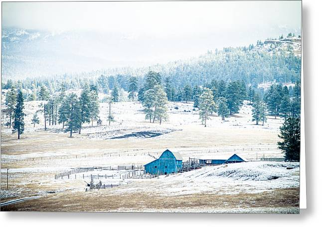 Greeting Card featuring the photograph The Blue Barn by Jason Smith