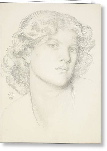 The Blue Bower - Female Head Study Greeting Card